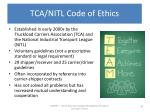 tca nitl code of ethics