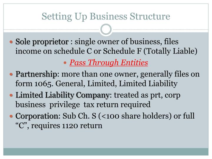 Setting up business structure