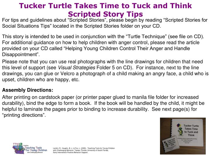 tucker turtle takes time to tuck and think scripted story tips n.