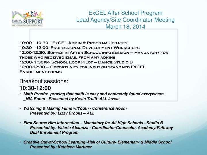 excel after school program lead agency site coordinator meeting march 18 2014 n.