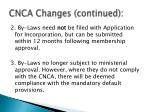 cnca changes continued