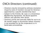 cnca directors continued
