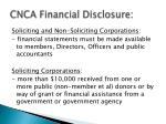 cnca financial disclosure