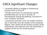 cnca significant changes