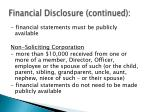 financial disclosure continued