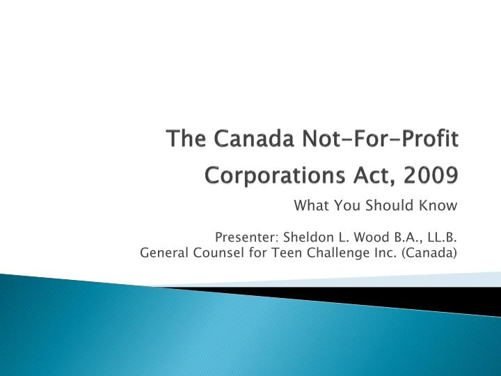 the canada not for profit corporations act 2009 n.