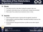 objectives of key stakeholders in current environment