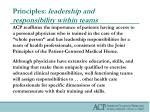 principles leadership and responsibility within teams