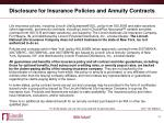 disclosure for insurance policies and annuity contracts