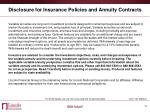 disclosure for insurance policies and annuity contracts1