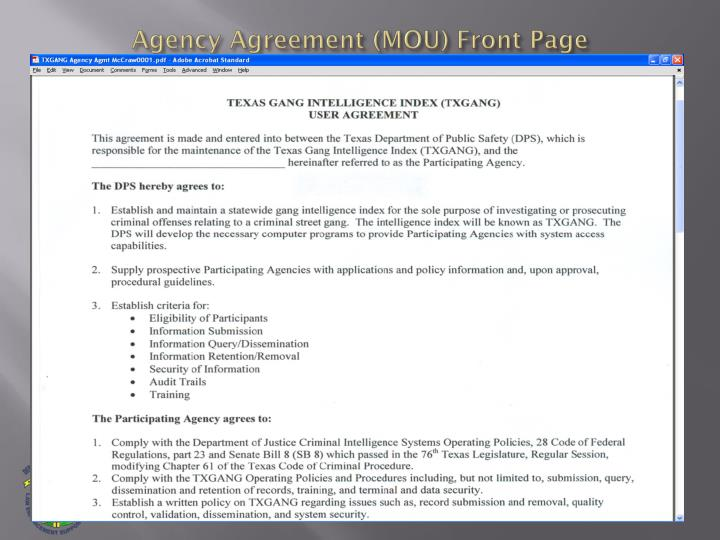 Agency Agreement (MOU) Front Page