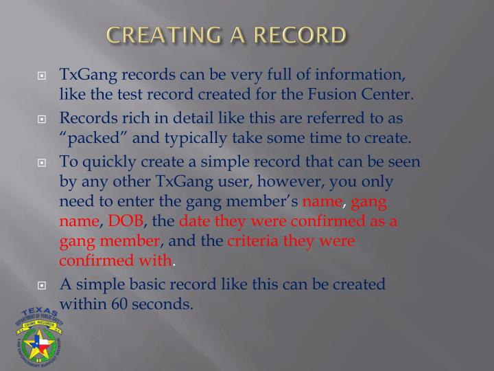 CREATING A RECORD