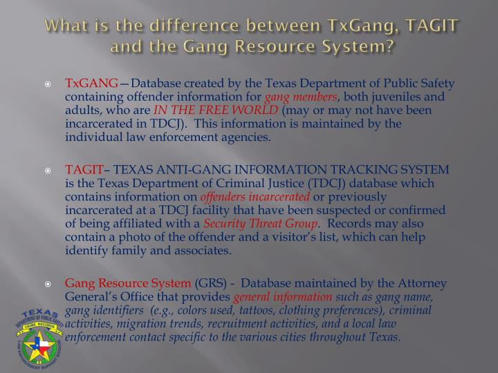What is the difference between TxGang, TAGIT and the Gang Resource System?