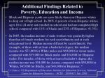 additional findings related to poverty education and income1