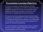 presentation learning objectives