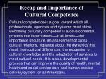 recap and importance of cultural competence