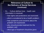 relevance of culture to the delivery of social services continued