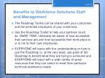 benefits to workforce solutions staff and management1