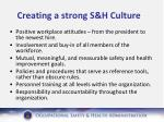 creating a strong s h culture