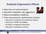 evaluate ergonomics efforts