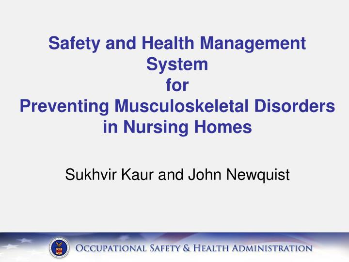safety and health management system for preventing musculoskeletal disorders in nursing homes n.