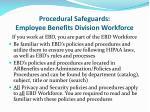 procedural safeguards employee benefits division workforce