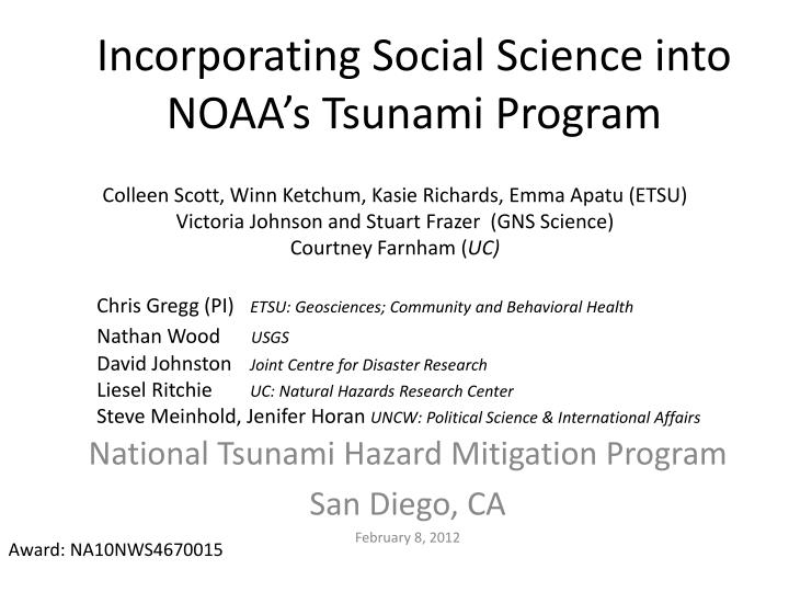 incorporating social science into noaa s tsunami program n.