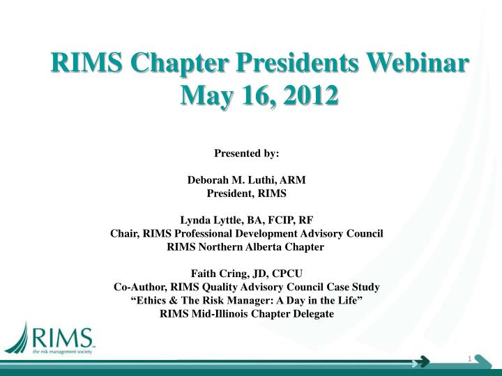 rims chapter presidents webinar may 16 2012 n.