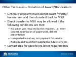 other tax issues donation of award honorarium