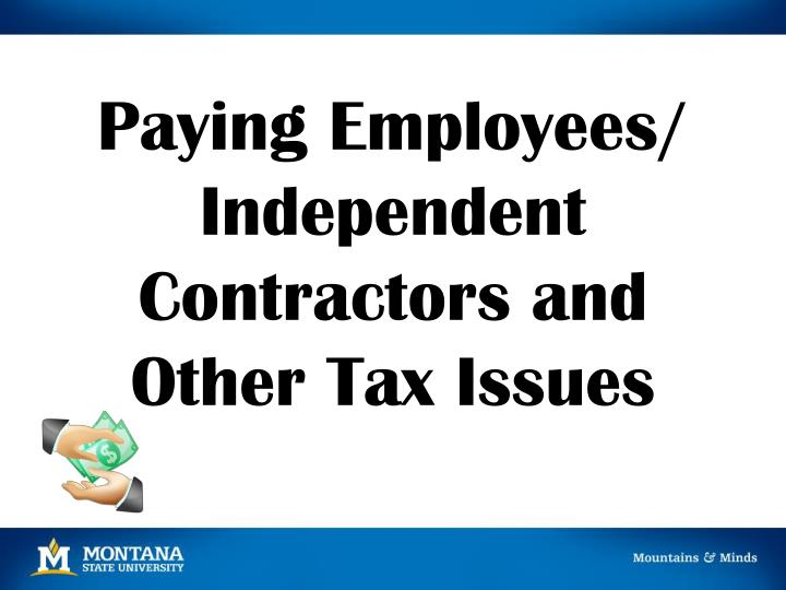 paying employees independent contractors and other tax issues n.