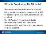 what is considered de minimis