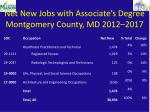 net new jobs with associate s degree montgomery county md 2012 2017