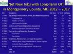 net new jobs with long term ojt in montgomery county md 2012 2017
