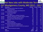 net new jobs with moderate term ojt montgomery county md 2012 2017