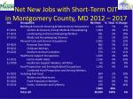 net new jobs with short term ojt in montgomery county md 2012 2017