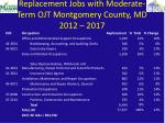 replacement jobs with moderate term ojt montgomery county md 2012 2017