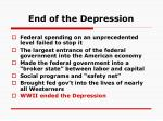 end of the depression