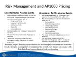 risk management and ap1000 pricing