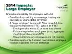 2014 impacts large employer
