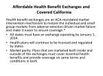 affordable health benefit exchanges and covered california