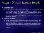 access ot as an essential benefit1