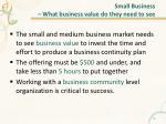 small business what business value do they need to see
