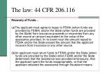 the law 44 cfr 206 116