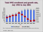total hmo enrollment and growth rate july 1992 to july 2001