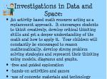 investigations in data and space