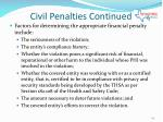 civil penalties continued