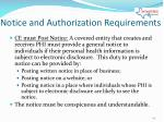 notice and authorization requirements