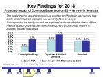 key findings for 2014 projected impact of coverage expansion on 2014 growth in services