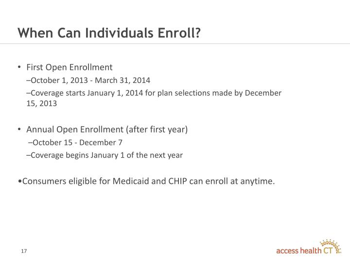When Can Individuals Enroll?