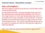 financial controls stewardship s examples